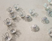 7x4mm, Flower Bead Caps, Silver-Plated Brass - 100 Beadcaps or, choose a Larger Pkg from the 'Select an Option' menu