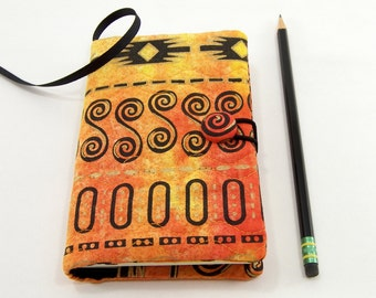 Pocket Moleskine Journal Cover, Quilted Pocket Notebook 3.5 x 5.5 inch, Small Moleskine Cover, Tribal Writing Journal, Orange Diary