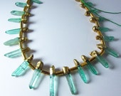 Rare Emerald City Green Gold Plated Dipped Titanium Coated Quartz Thin Point Nugget Dagger Beads 15mm - 40mm
