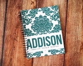 Baby Book - Personalized Baby Book - Modern Baby Book - Girl - Boy - Damask - Turquoise