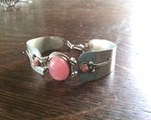 Cabochon Rose Quartz and Coral Accents in Silver Metal Bracelet