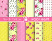 Pink Floral Papers, Yellow Floral Paper Pack, Digital Scrapbooking, Rose Papers - INSTANT DOWNLOAD  - 1902