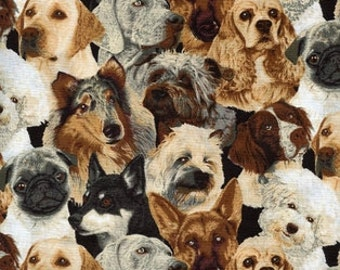 Dog Fabric, Packed Dogs, Dog Quilting Cotton, Dog Prints, Beautiful Dogs Cotton - By the Half Yard