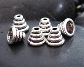 Pewter Wire Wrapped Cone Cap Beads - Set of 30