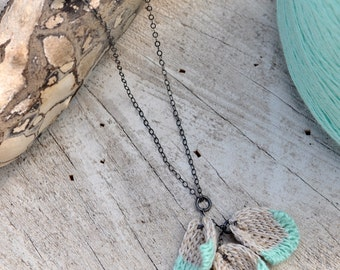 Knitted Blossom Petal Pendant Necklace - Mint