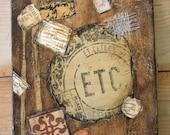 Steamer Trunk Steampunk Travel Luggage Original Art Collage Painting