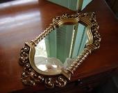 Vintage Syroco moroccan style gold Mirror Homco mirror wall mirror wall hanging retro chic mirror ornate regency mirror wall decor