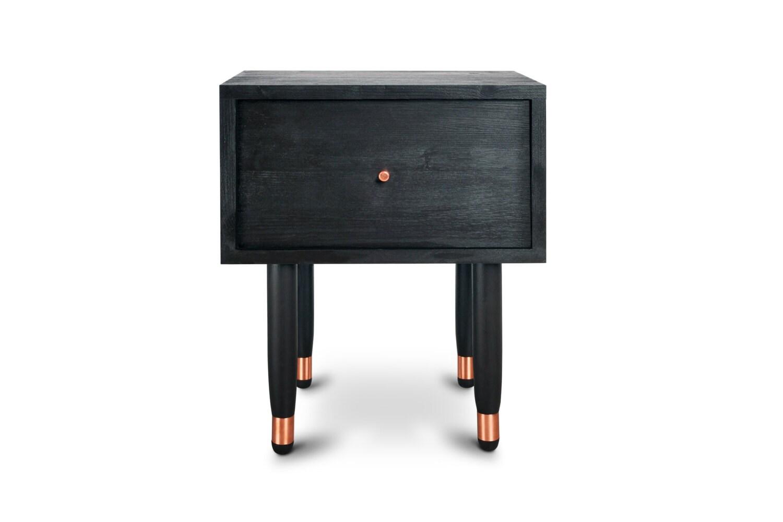 Bedside Table Eldfell. Black Furniture. Midcentury Modern Side