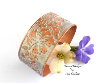 Hibiscus Flower Cuff, Copper Bracelet Cuff, Floral Jewelry, Copper Wrist Cuff, Etched Copper Jewelry, Jewelry Gift for Her, Ready to Ship