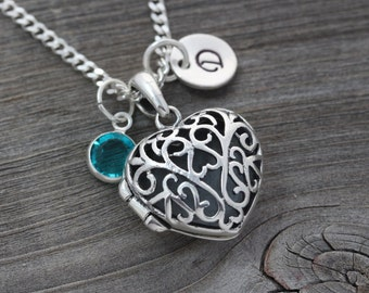 Heart lockets, solid sterling silver locket necklace, Silver locket necklace, locket personalized, custom charm.  R-38