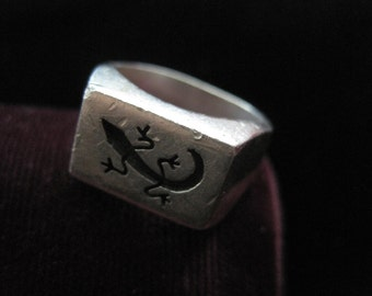 Sterling Lizard Ring Rectangular Silver 925 Statement Ring Extremely Heavy Rectangle Flat Face Size 7 Mexico