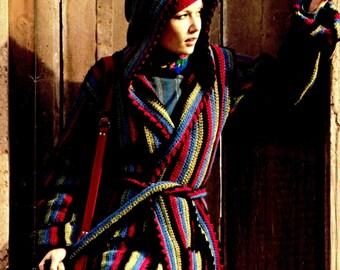 Vintage 70's Crochet Hooded Jacket & Hat - PDF Pattern - INSTANT DOWNLOAD