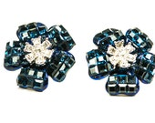 Invisibly Set Earrings Sapphire Blue Glass Flower Clip on