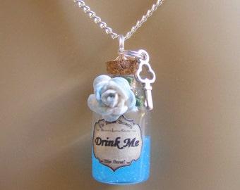 Drink Me Necklace, Drink Me Pendant, Drink Me Bottle, Miniature Bottle Necklace, Bottle Pendant, Miniature Food Jewelry, Mini Food, Kawaii