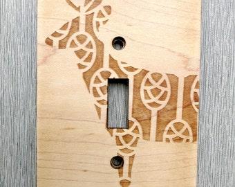Deer Light Switch Cover // Wooden Wall Lightswitchplate // Woodland Theme Nursery Art // Nursery Decor // Deer Decorations // Baby's Room