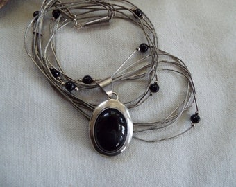 southwest Boho sterling silver liquid silver onyx pendant necklace marked