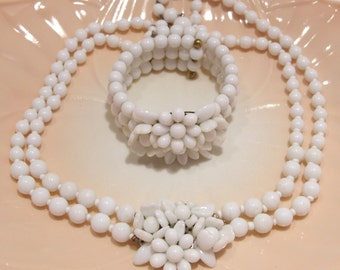 Milk Glass Double Strand Choker Necklace with Center Flowers and Matching Bracelet Made in West Germany