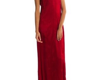 1990-1994 Beautiful Long Burgundy Silk Gown  Size: S/M
