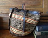 Vintage Handcrafted Straw Raffia Earthy Browns Leather Handbag Tote Large