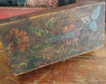 Pyrography Wood Storage Box Floral Painted Trinket Farmhouse Primitive