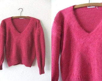 90s Fuzzy Fuchsia Deep V Neck Sweater - Mesh Knit Faux Fur Detail Slouchy fit Jumper