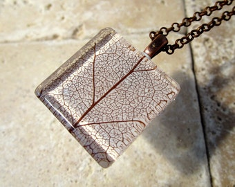 Skeleton Leaf of Salal Square Glass Necklace, Leaf Jewelry, Plant Jewellery, Woodland, nature, rustic, forest, Antique Bronze