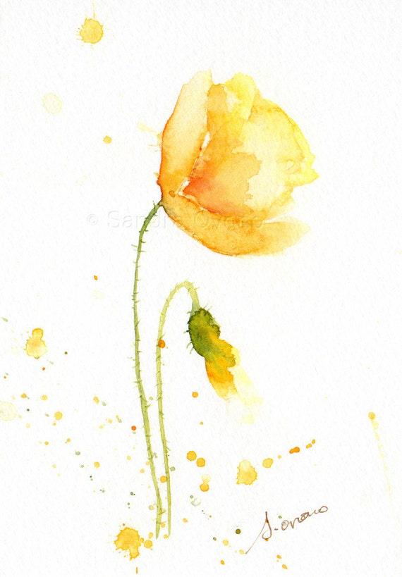 Yellow poppy original watercolor Small flower painting