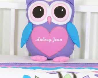 Owl  Pillow,  Baby Owl,  Monogram Pillow,  Custom Owl Cushion, Custom Owl Pillowcase, Pink Purple Stuffed Owl