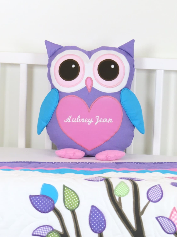 Owl Pillow, Baby Owl, Monogram Pillow, Custom Owl Cushion, Custom ...