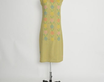 Vintage 1960s 60s Sleeveless Shift Dress with Embroidery Ethnic Folk