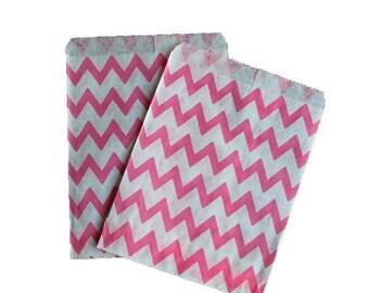Pink and White Chevron Treat Bag