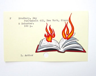 Ray Bradbury Library Card Art - Print of my painting on Fahrenheit 451 card