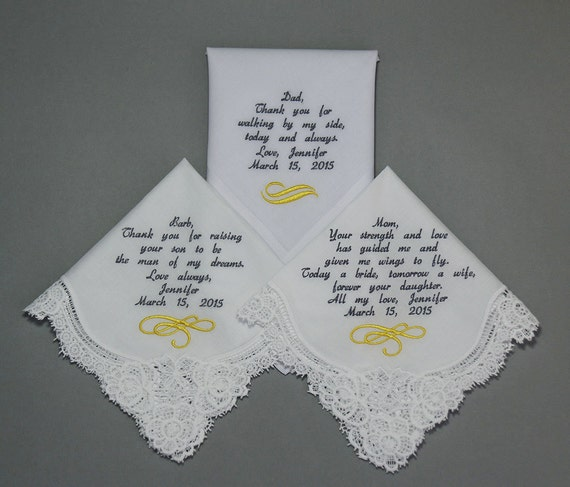 Wedding Handkerchiefs Embroidered to mother of Bride father of bride & Mother in Law (Monogram / Custom)