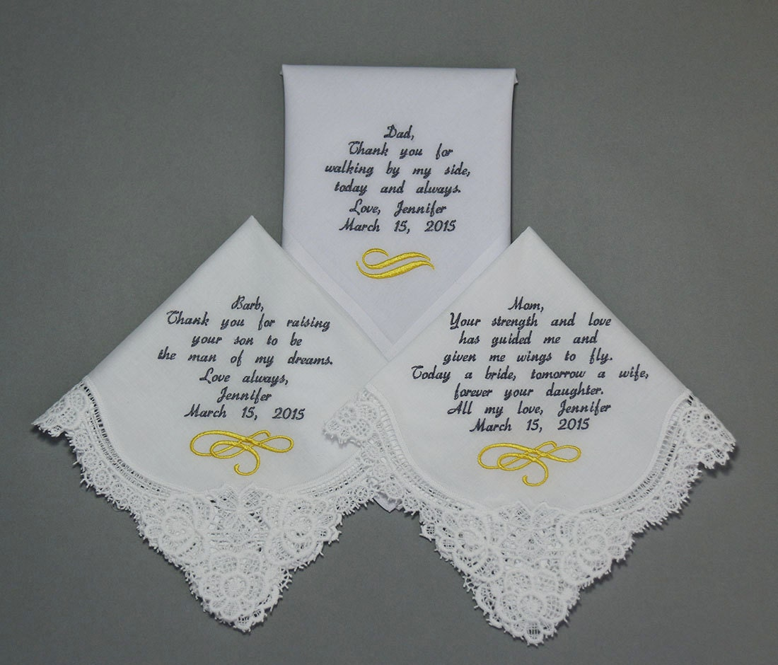 Wedding Handkerchiefs Embroidered To Mother Of Bride Father Of