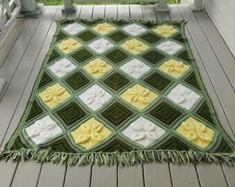 Handmade Green Afghan Blanket