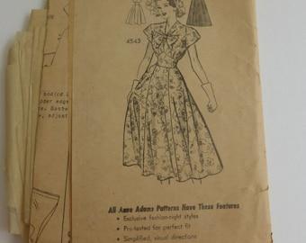 Vintage Anne Adams Pattern 4543 Dress Size 12