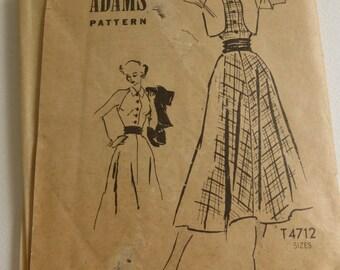 Vintage Anne Adams Mail Order Pattern T4712 Junior Sun Dress and Bolero Size 11