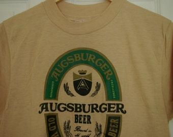 Augsburger Beer Bavarian Beer Vintage Tee Shirt  *NEW* 70s Vintage Deadstock Mens Medium Small
