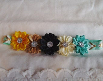 Flower Headband - Toddler Headband - Multi Colored Headband - Stretch Headband - Mini Flower Headband - Dainty Headband - Boutique Headband