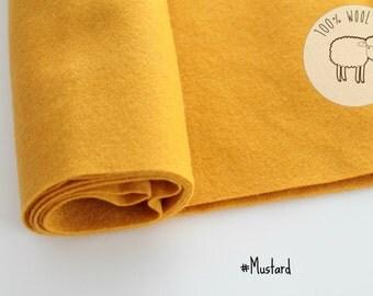 "Wool felt roll fabric in Mustard, pure wool felt band 20cm by 91cm (9"" x 36""), 1 - 1,5mm - Ships from Ireland"