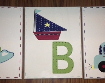 Hand painted ABC Bath & Shower, Nursery and Animal pottery Alphabet art m2m  kids quilt barn