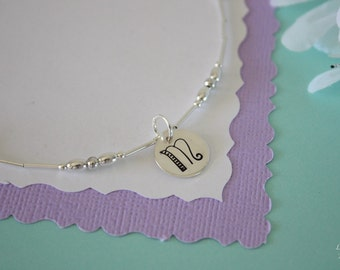 9 Bridesmaid Anklets Personalized, Bride Gift, Large Initial Anklet, Monogram Charm, Sterling Silver Adjustable Anklet, Wedding Jewelry