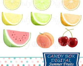 Fruit Clipart, Cherry, Watermelon, Peach, Lemon, Lime, Orange Clip Art - Commercial Use OK