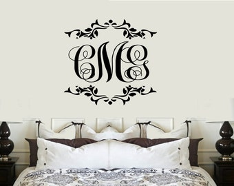 Three Letter Monogram VInyl Wall Lettering Decal Large Size Options Personalized custom initials
