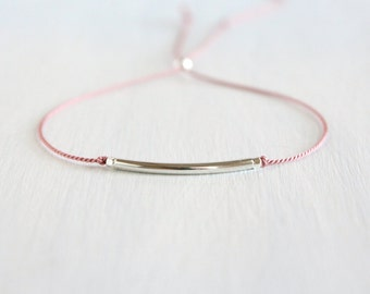 Minimalist Friendship Silk Cord Bracelet Best Friend Gift Dainty Jewelry Sterling Silver Thin Tube Delicate Bracelet