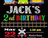 Train birthday invitation, trains invitation, trains party invitation, train birthday, chalkboard invitation, printable