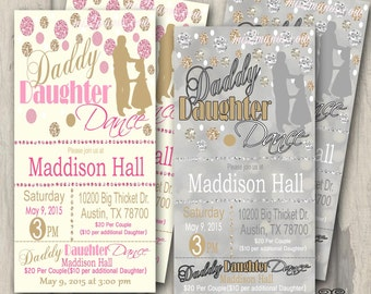 Daddy Daughter Dance Ticket Celebration Glitter and Gold Invitation Candy Invite with Chevron Printable Print at Home DIY