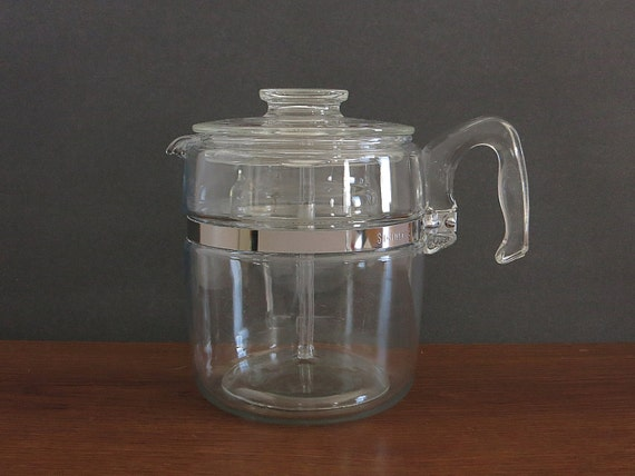 Pyrex Coffee Maker How To Use : Vintage Pyrex Percolator Coffee Pot 9 Cup Rangetop Ware