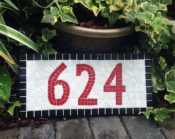 Red Black White Mosaic Address Plaque, Minimalist House Number Sign
