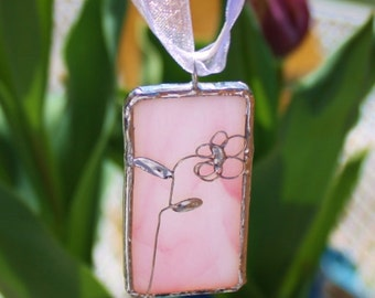 Pink Stained Glass Pendant with Peony Design Original Handcrafted Jewelry